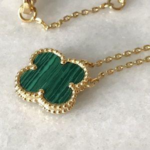 Jewelry - Green Malachite Four Leaf Clover 18K Gold Necklace